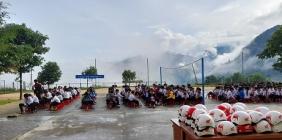 Tuyên truyền an toàn giao thông và thi tìm hiểu ATGT tại trường PTDTBT TH&THCS Trà Nam